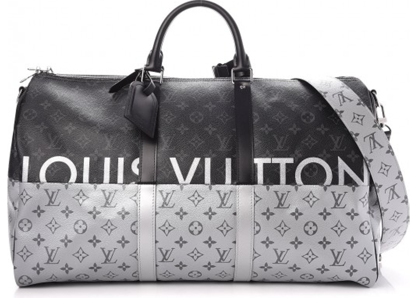 896b88d876e Louis Vuitton Keepall Bandouliere Monogram Eclipse Split With Accessories  50 Black/Silver