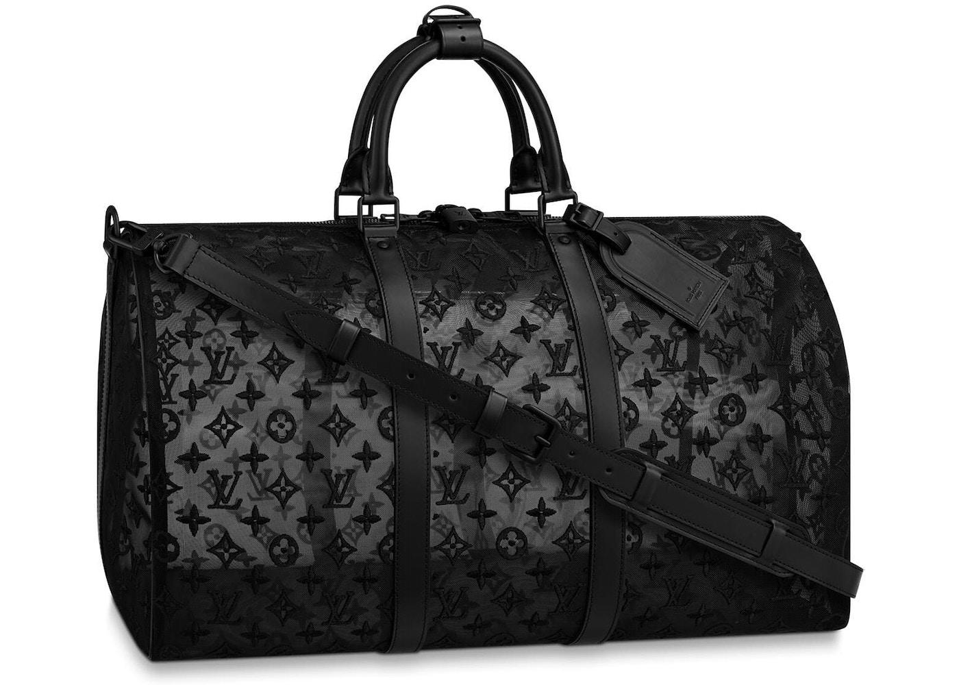 92466c89 Louis Vuitton Keepall Bandouliere Monogram Mesh 50 Black