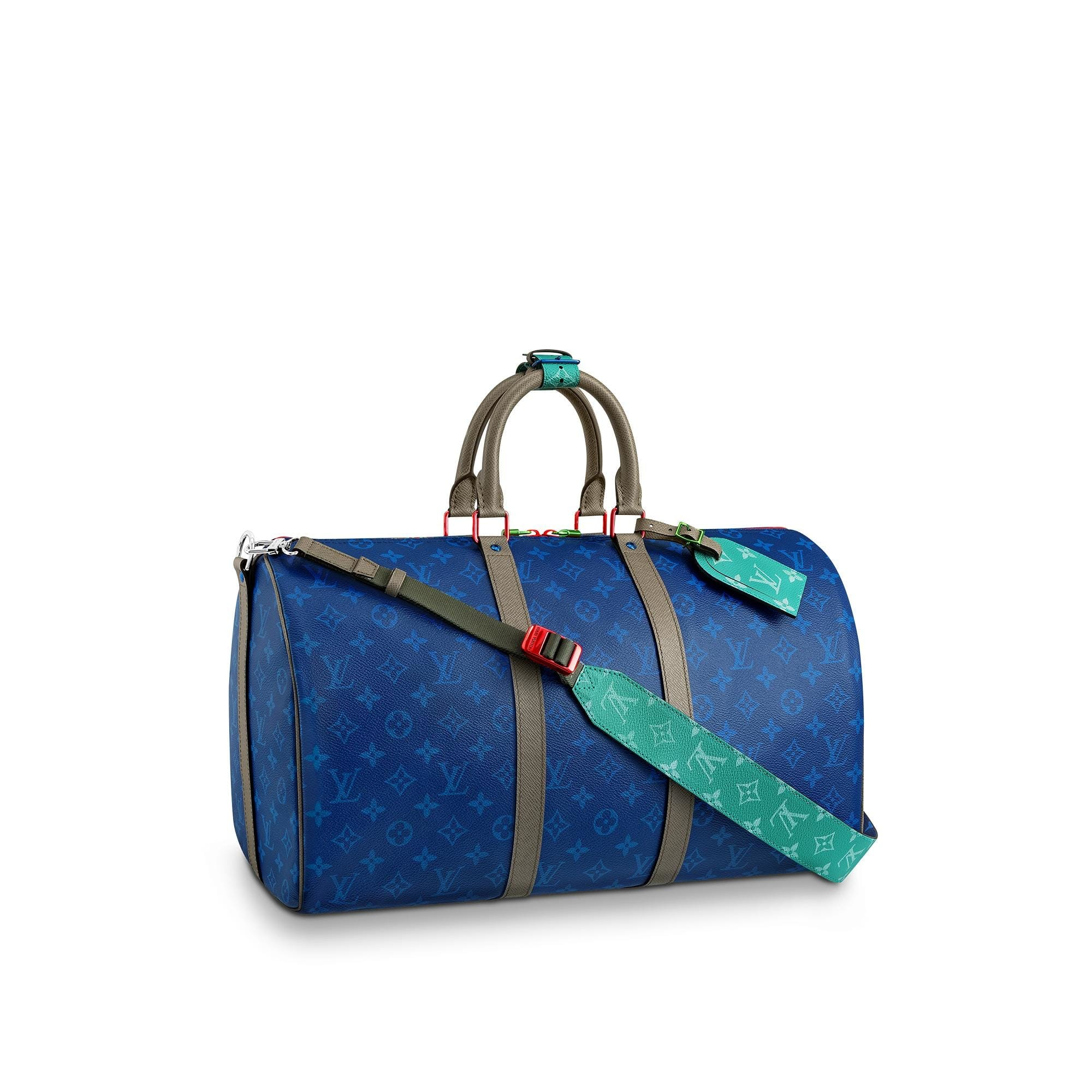 Louis Vuitton Keepall Bandouliere Monogram Outdoor With Strap 45 Pacific Blue