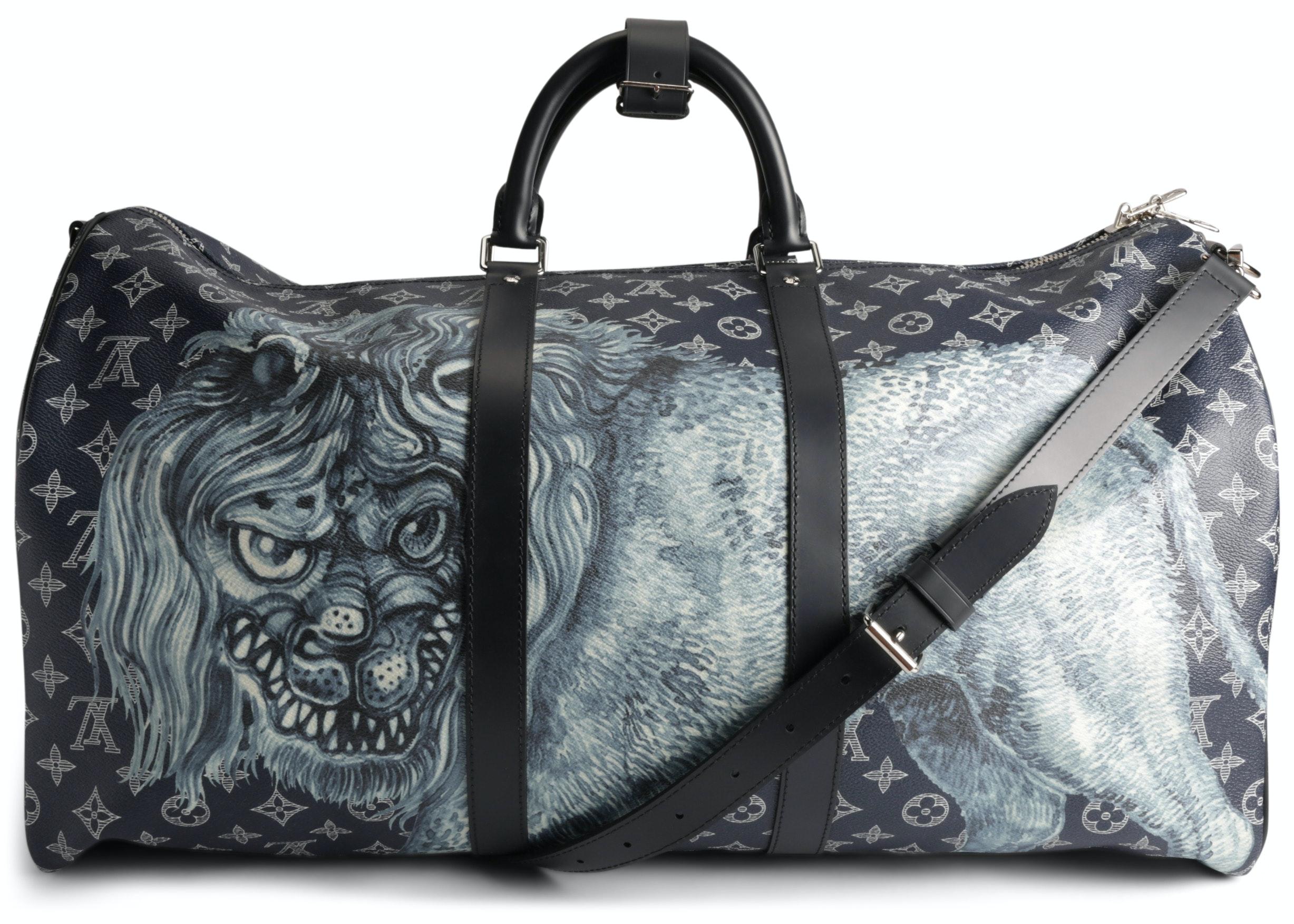 Louis Vuitton Duffle Keepall Bandouliere Savane Monogram Chapman Lion Motif (With Accessories) 55