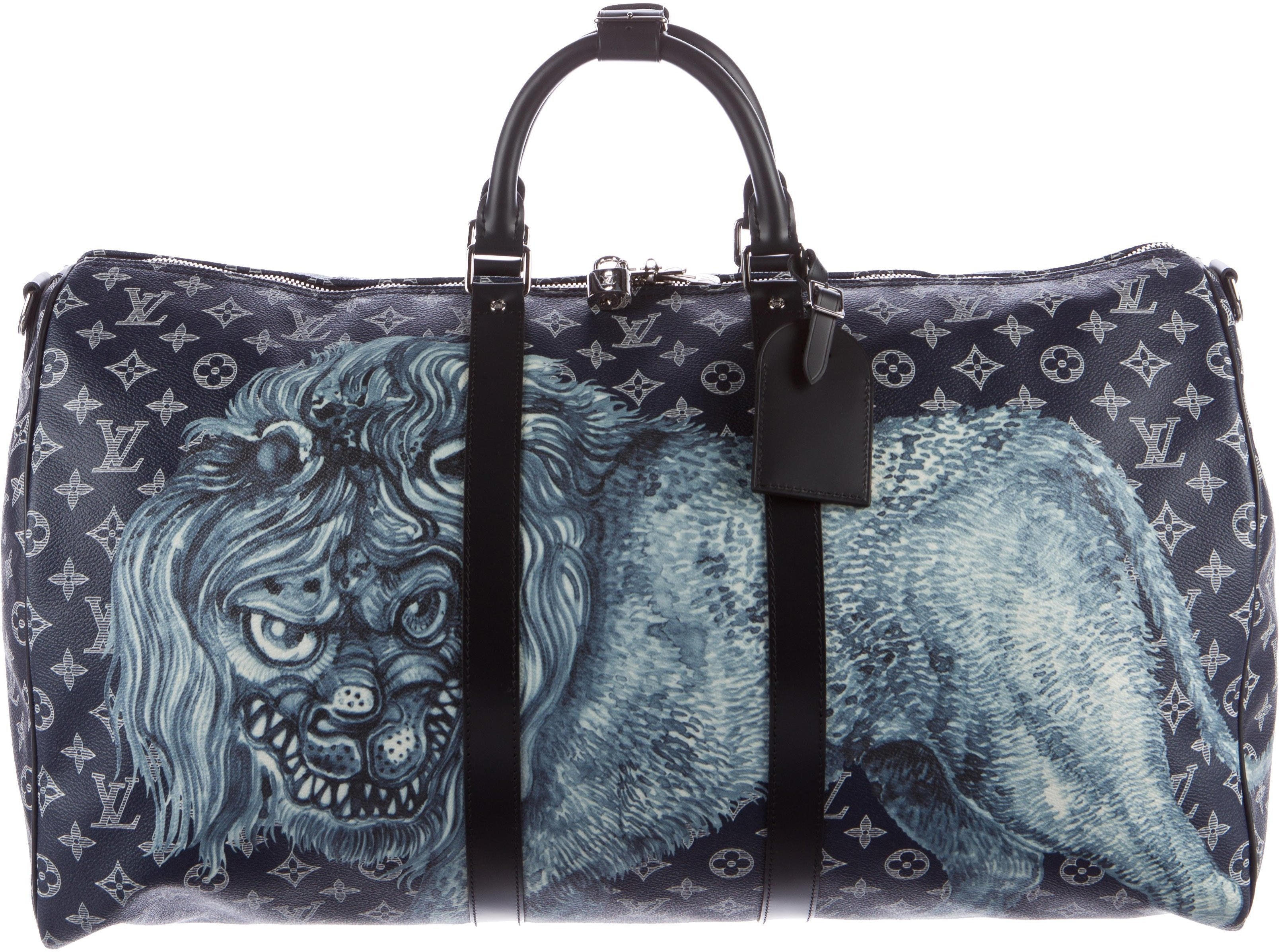 Louis Vuitton Duffle Keepall Bandouliere Monogram Savane Lion Motif (With Accessories) 55