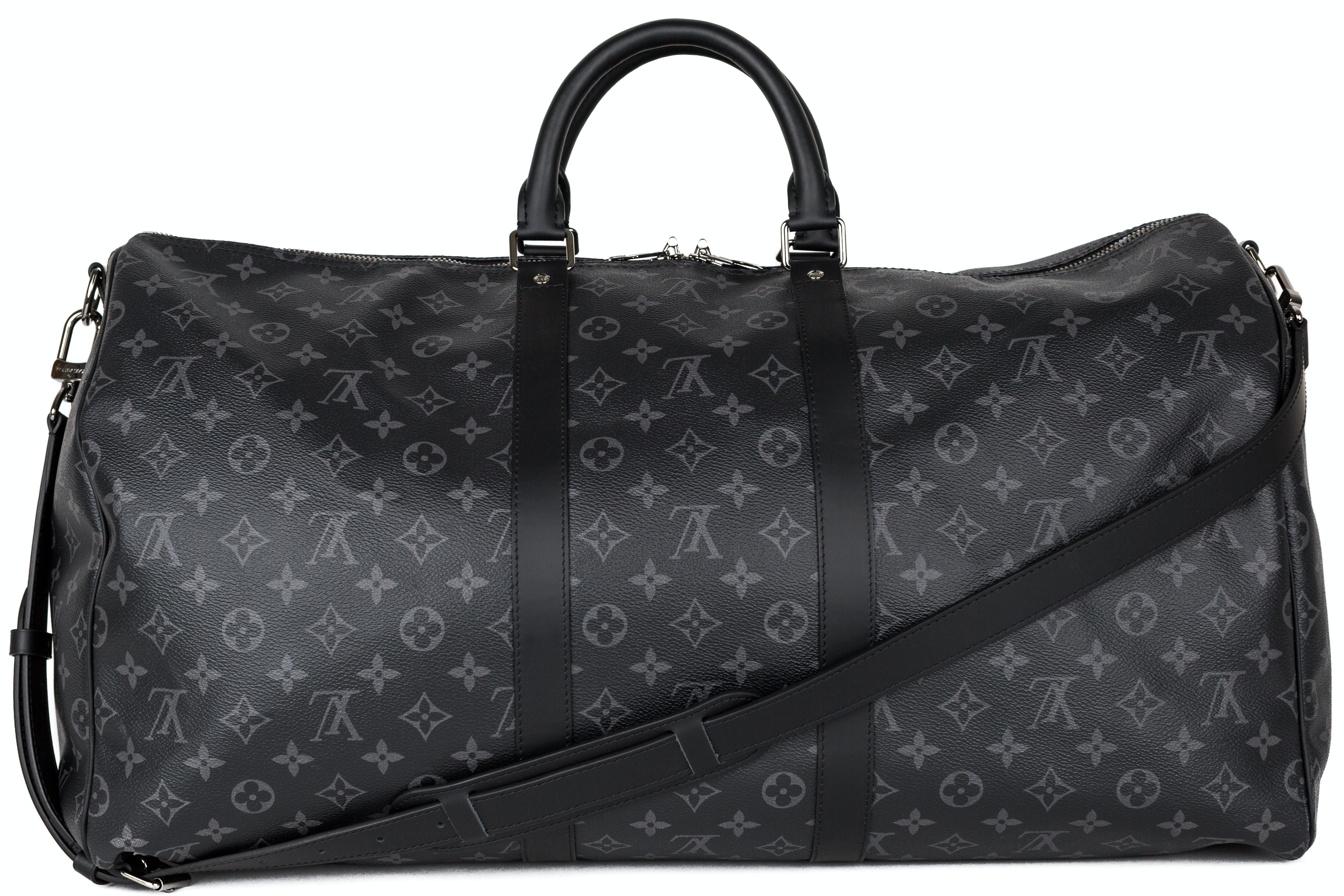 Louis Vuitton Keepall Bandouliere (Without Accessories) Monogram Eclipse 55 Gray