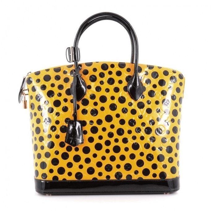 Louis Vuitton Handbag Lockit Monogram Vernis Dots Infinity MM Yellow