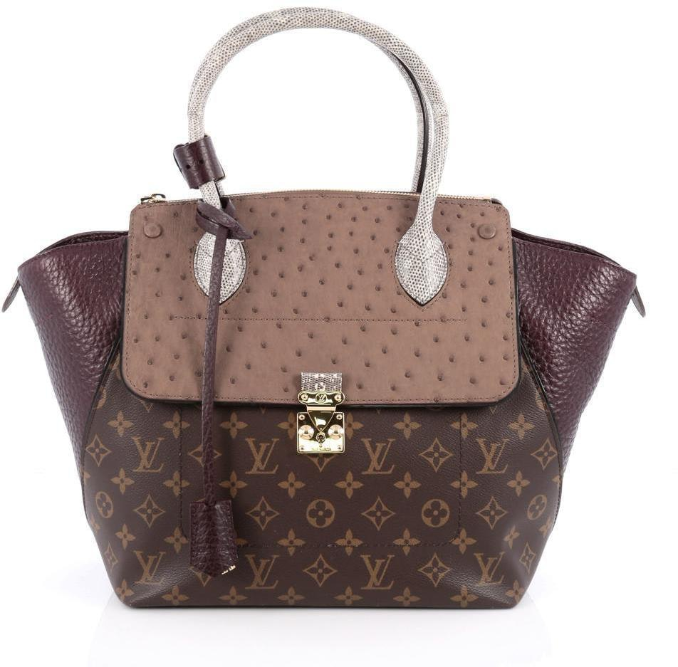 Louis Vuitton Tote Majestueux Monogram Exotics MM Brown/Taupe/Burgundy