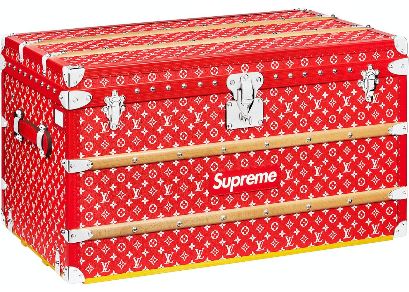 louis vuitton x supreme malle courrier trunk monogram 90 red. Black Bedroom Furniture Sets. Home Design Ideas