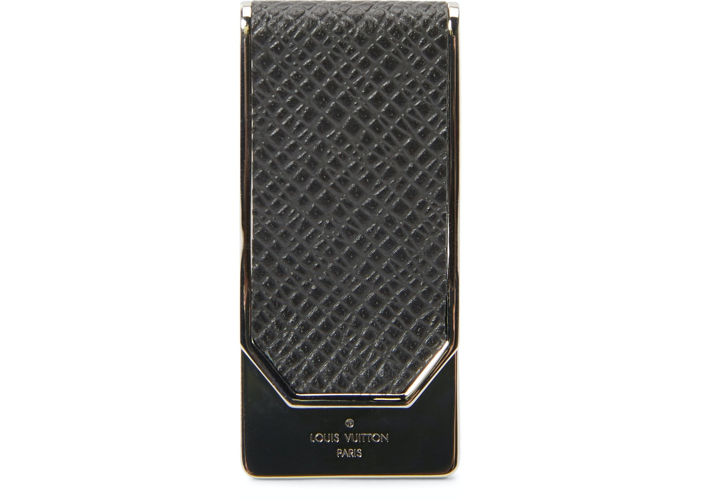 e2a030eb1e Louis Vuitton Money Clip Club Taiga Logo Black Silver