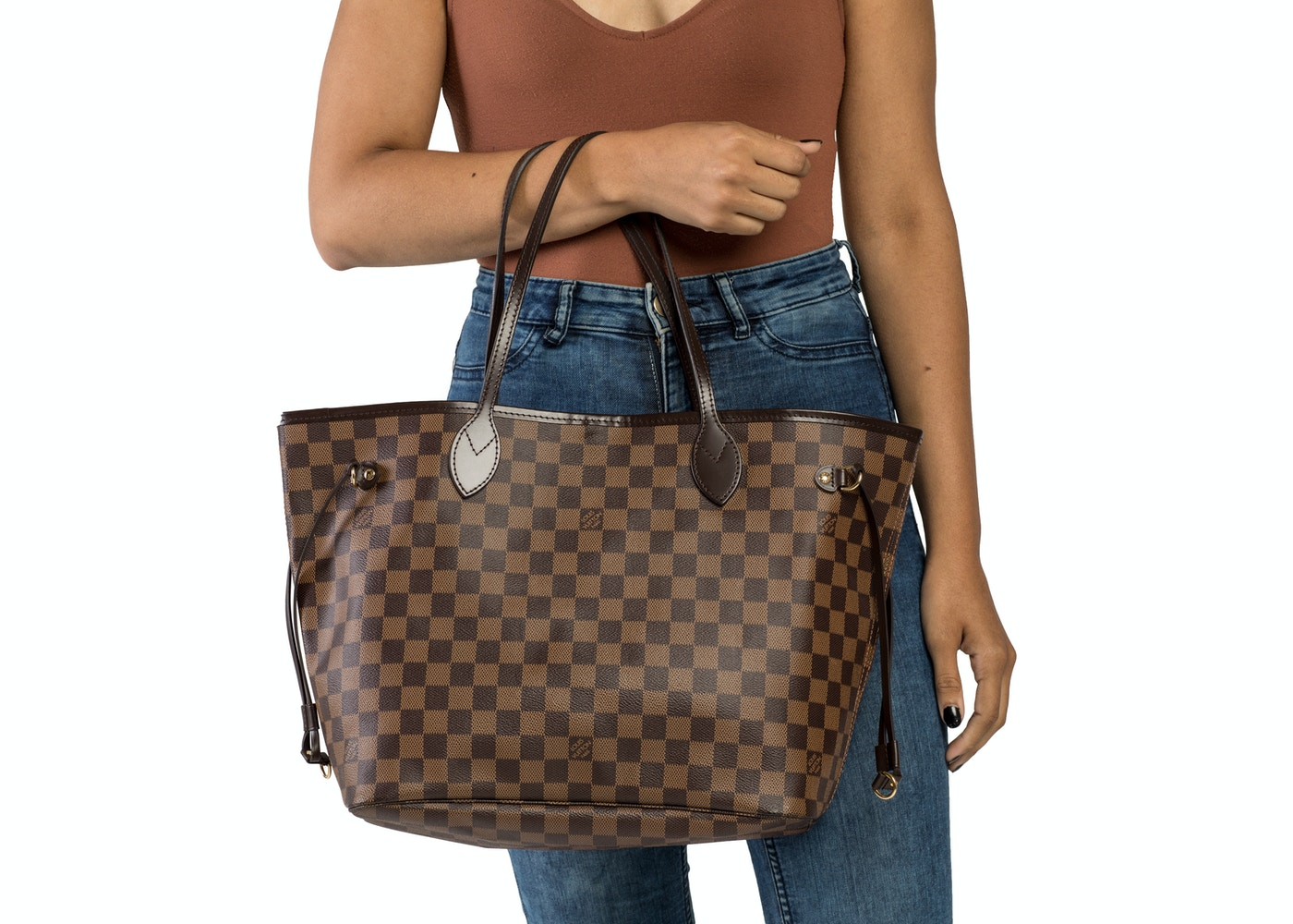1fb525589d Louis Vuitton Neverfull Damier Ebene (Without Pouch) MM Cerise Lining