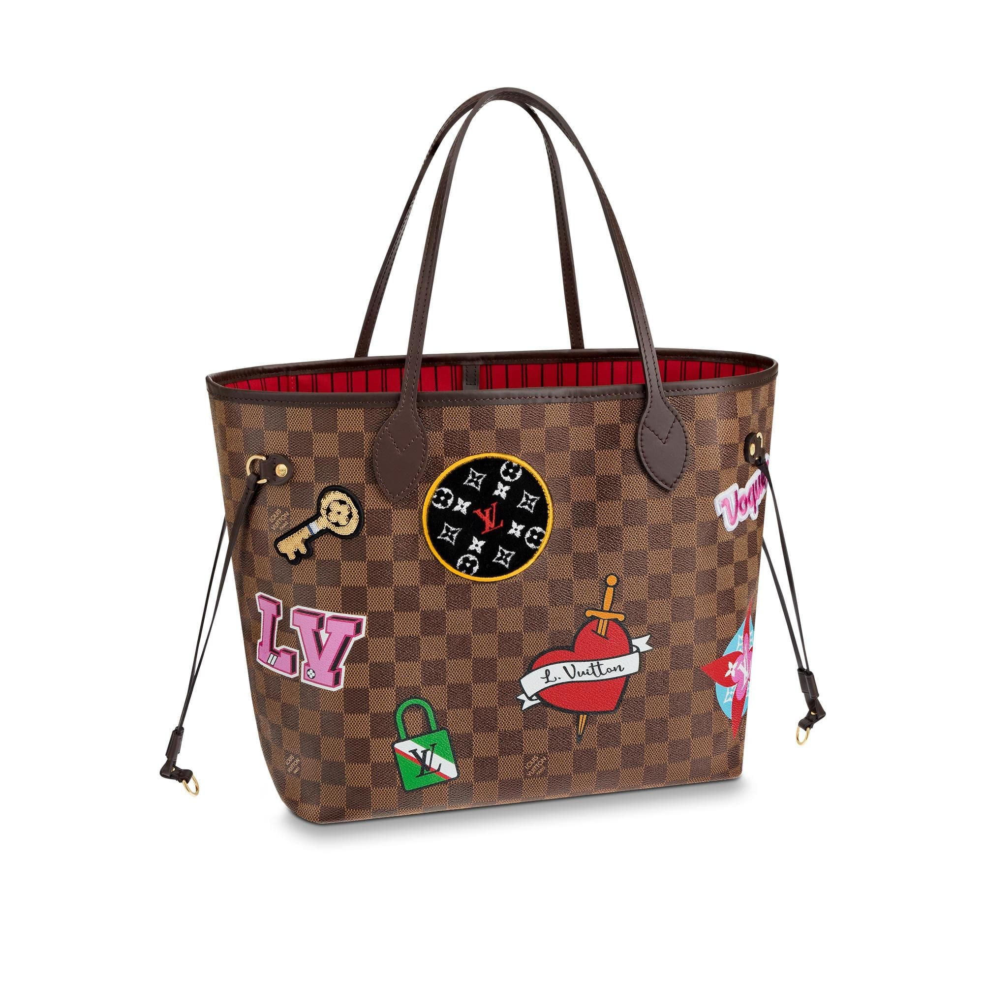 Louis Vuitton Neverfull Damier Ebene Patches (Without Pochette) MM Brown