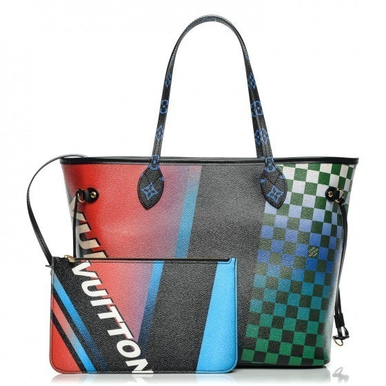 Louis Vuitton Tote Neverfull Damier Race MM Noir Rouge