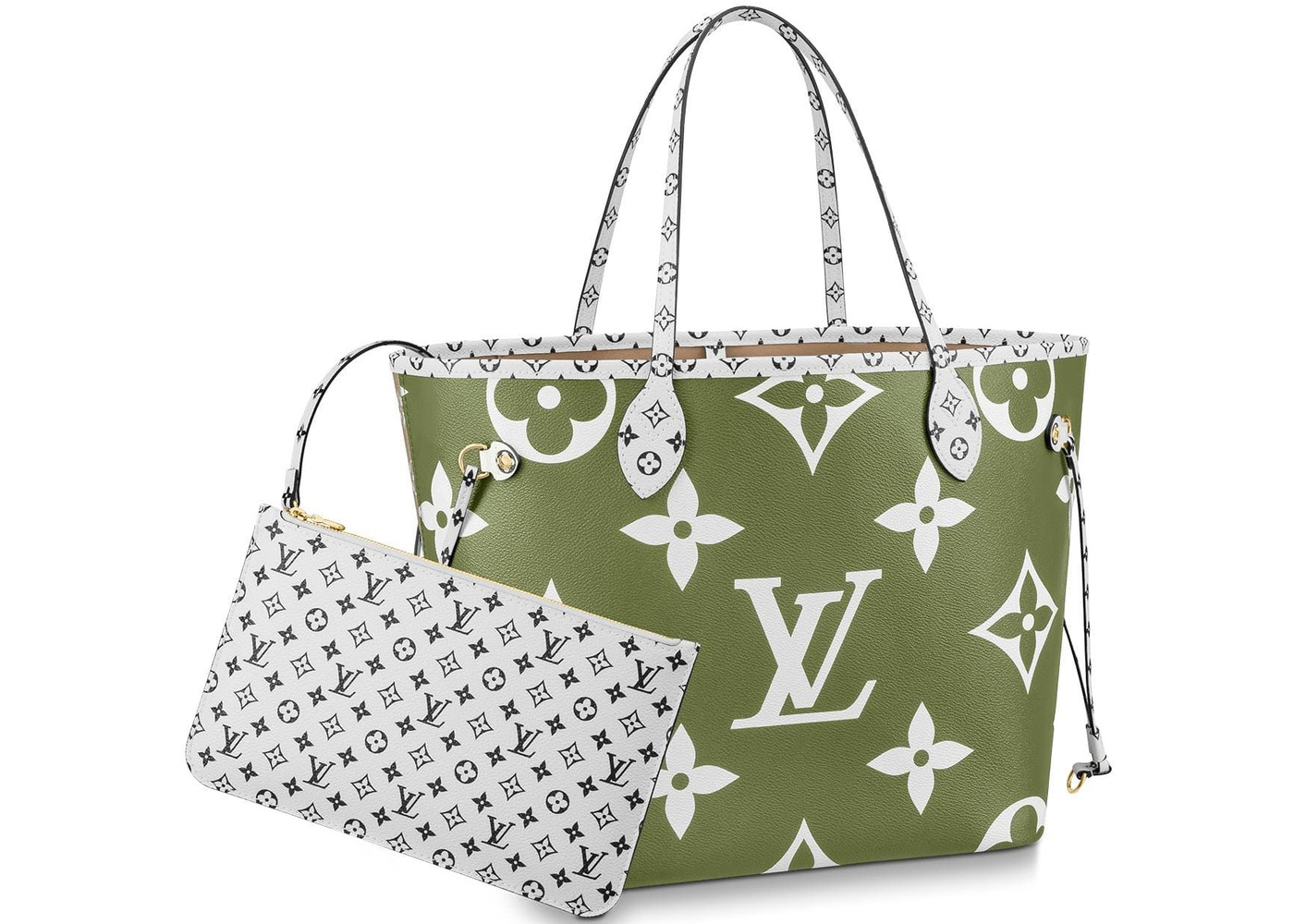 Louis Vuitton Neverfull Monogram Giant Mm Khaki Green Beige Lining