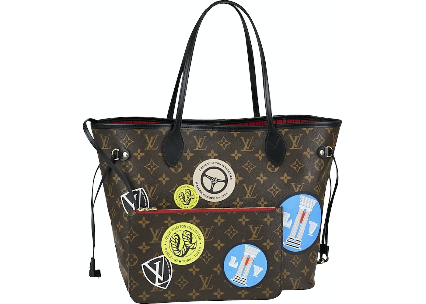 3484f4d57 Sell. or Ask. View All Bids. Louis Vuitton Neverfull Monogram World Tour MM  Cerise Lining