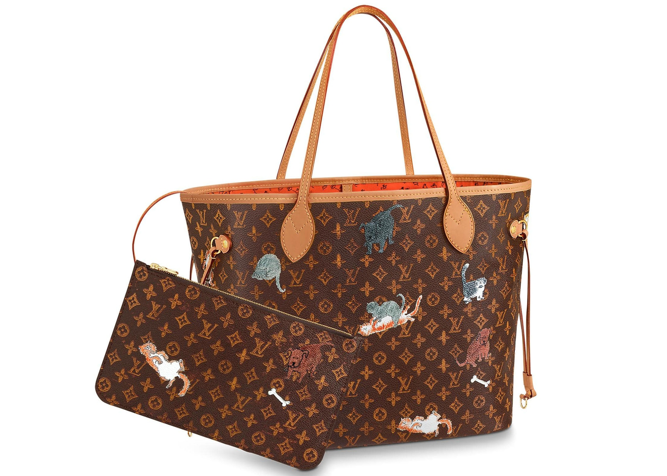 Louis Vuitton Neverfull Monogram Catogram (With Pouch) MM Brown/Orange