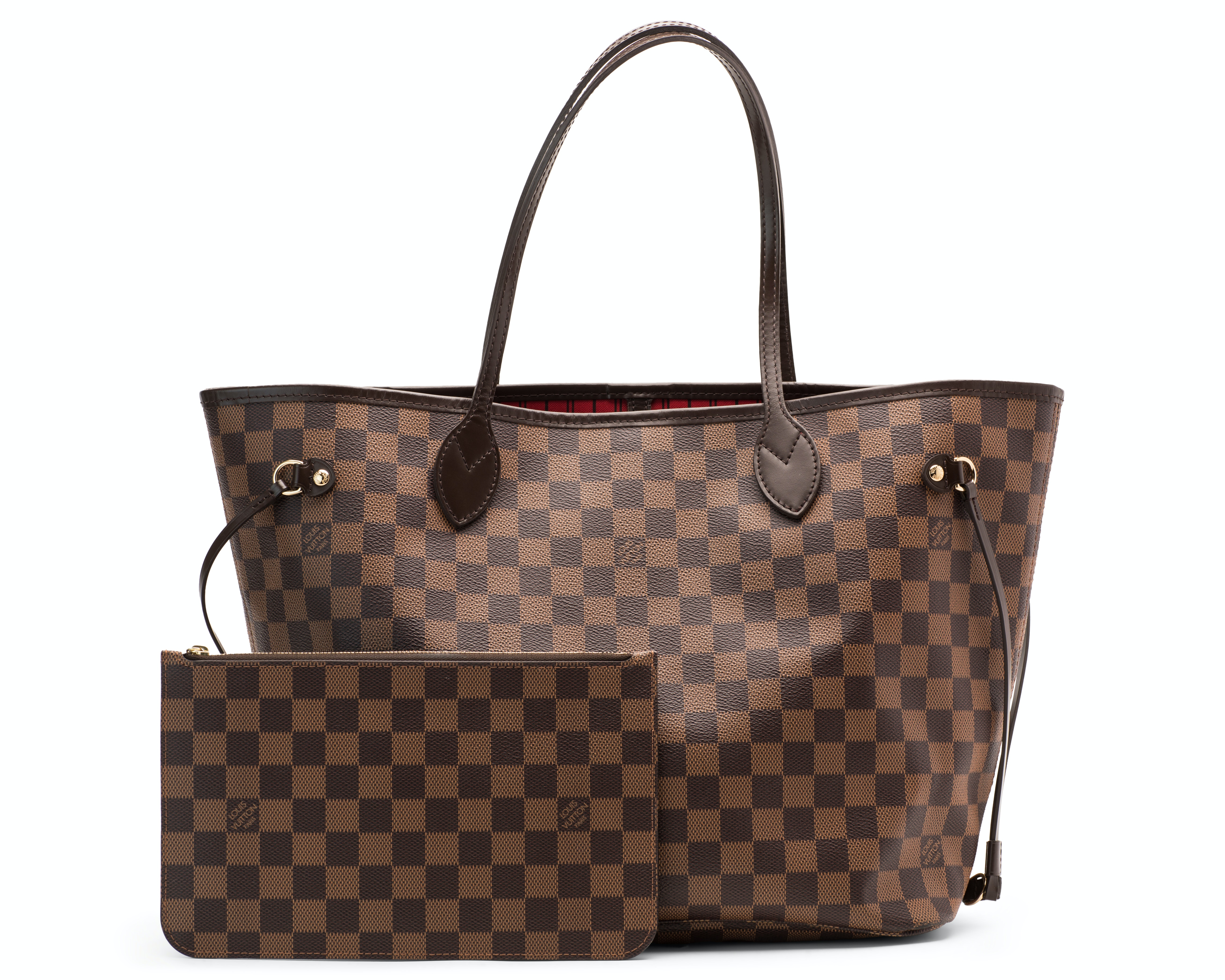 Louis Vuitton Neverfull Nm Damier Ebene MM (With Pouch) Brown