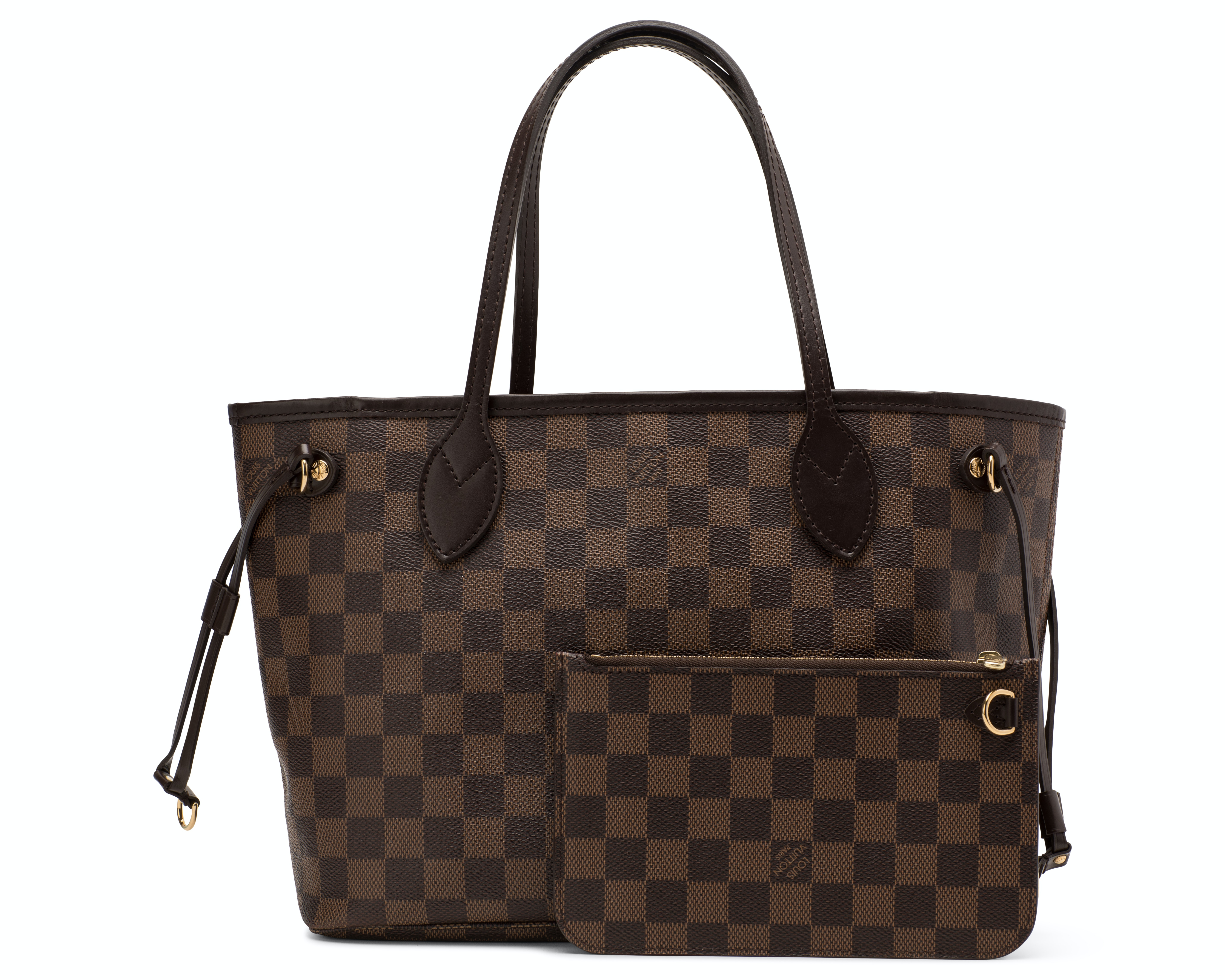 Louis Vuitton Neverfull Nm Damier Ebene PM (With Pouch) Brown