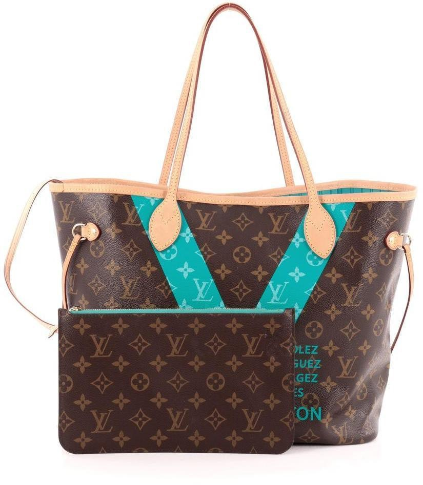 Louis Vuitton Neverfull Nm Monogram V MM Brown/Teal