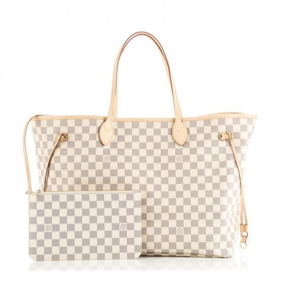 louis vuitton neverfull white. louis vuitton neverfull damier azur gm (with pouch) white