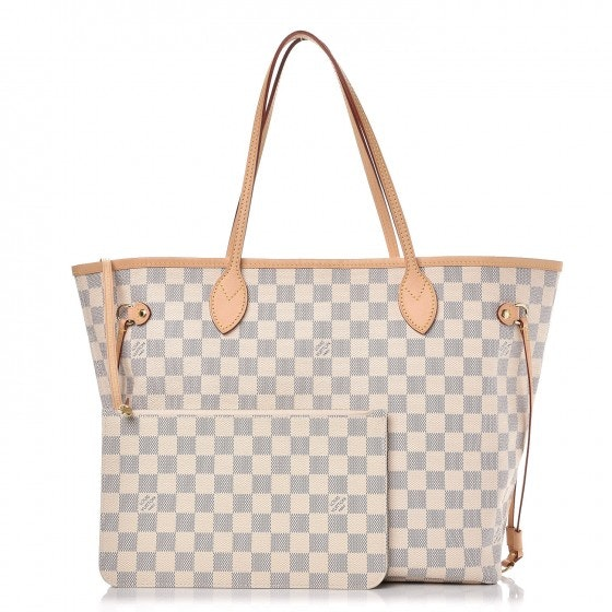 Louis Vuitton Neverfull Damier Azur MM (With Pouch) Ivorie Grey