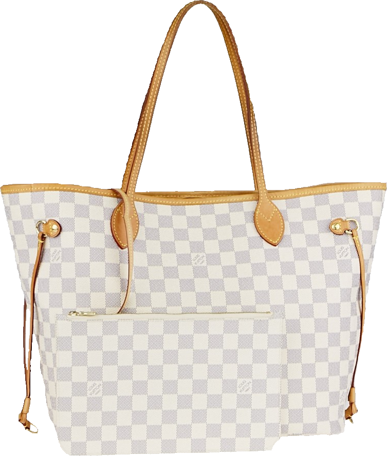 Louis Vuitton Neverfull Nm Damier Azur MM (With Pouch) Ivorie Grey