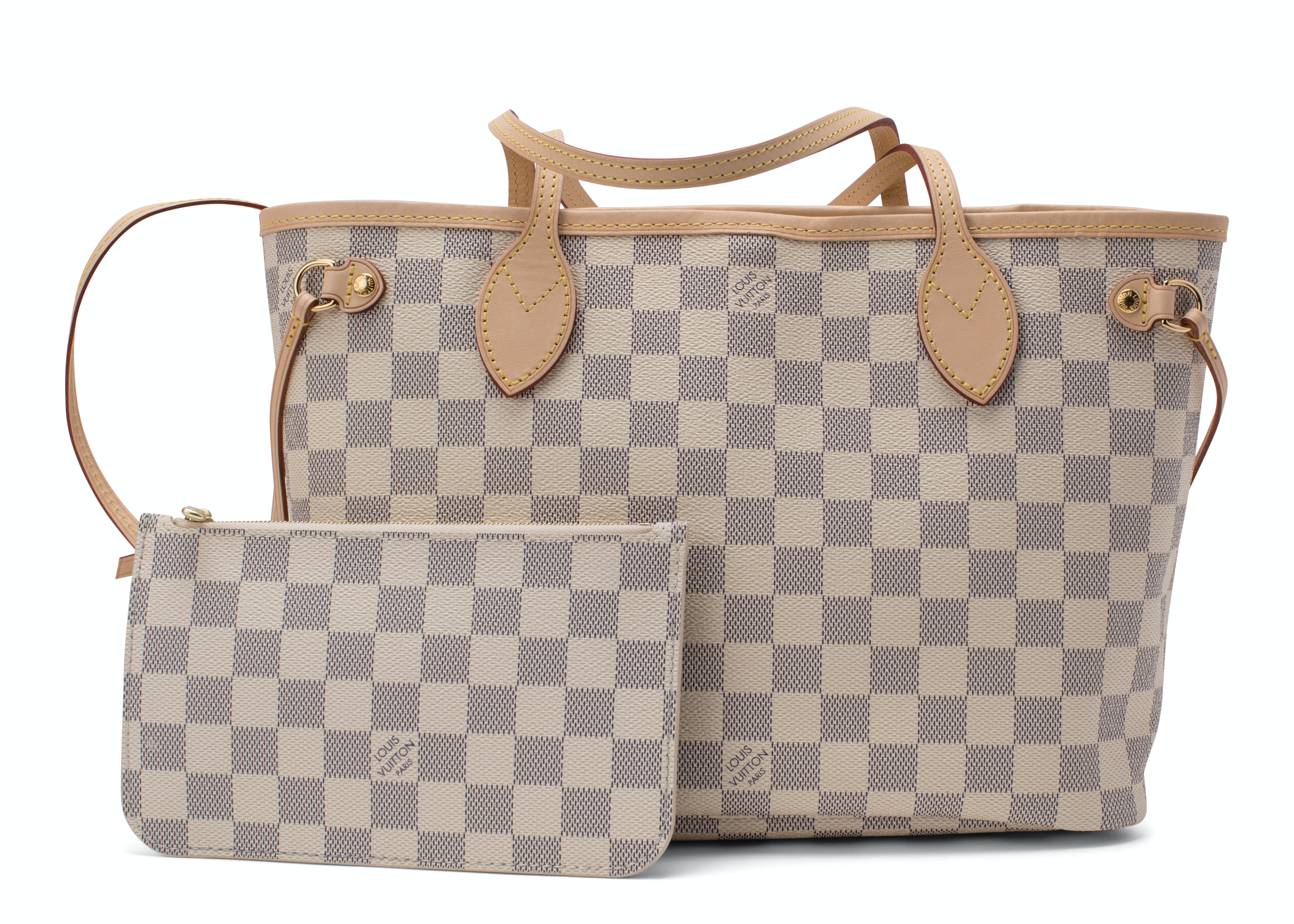 Louis Vuitton Neverfull Nm Damier Azur PM (With Pouch) Ivorie Grey