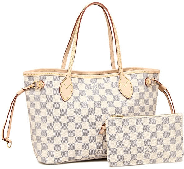 louis vuitton neverfull white. louis vuitton neverfull nm damier azur pm (with pouch) ivorie grey white o