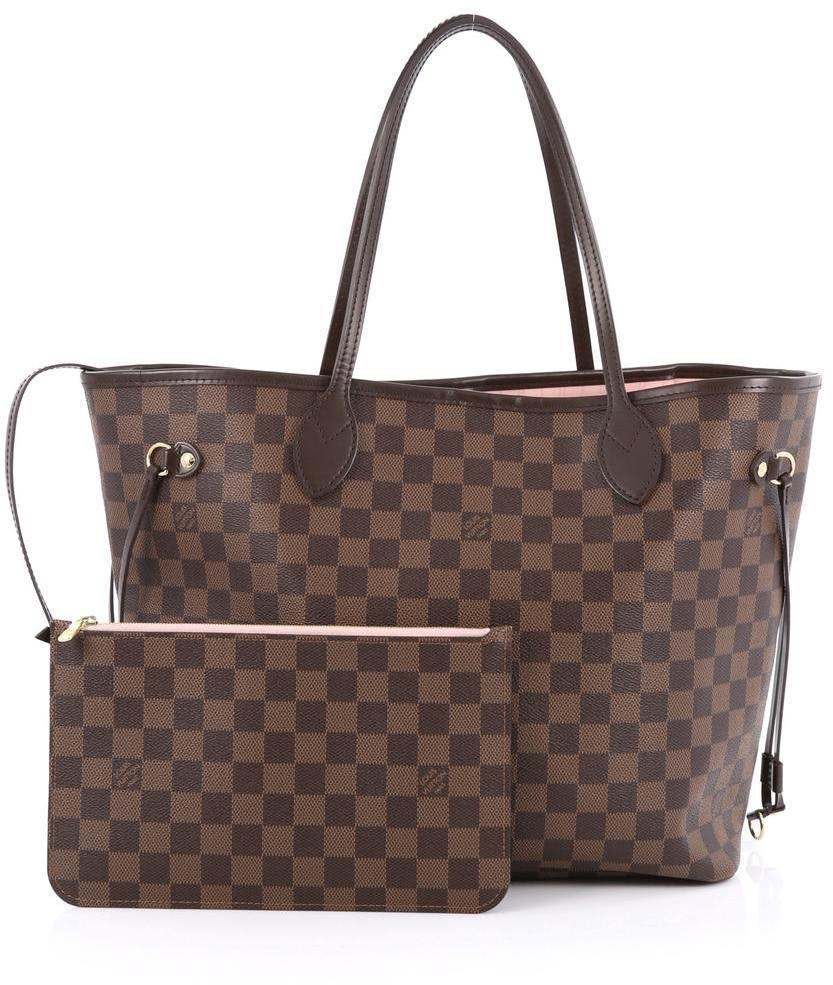 Louis Vuitton Neverfull NM Damier Ebene MM (With Pouch) Brown/Pink