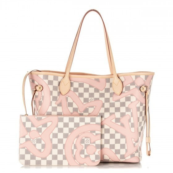 Louis Vuitton Neverfull Nm Damier Tahitienne Azur MM (With Pouch) Ivorie/Grey/Pink