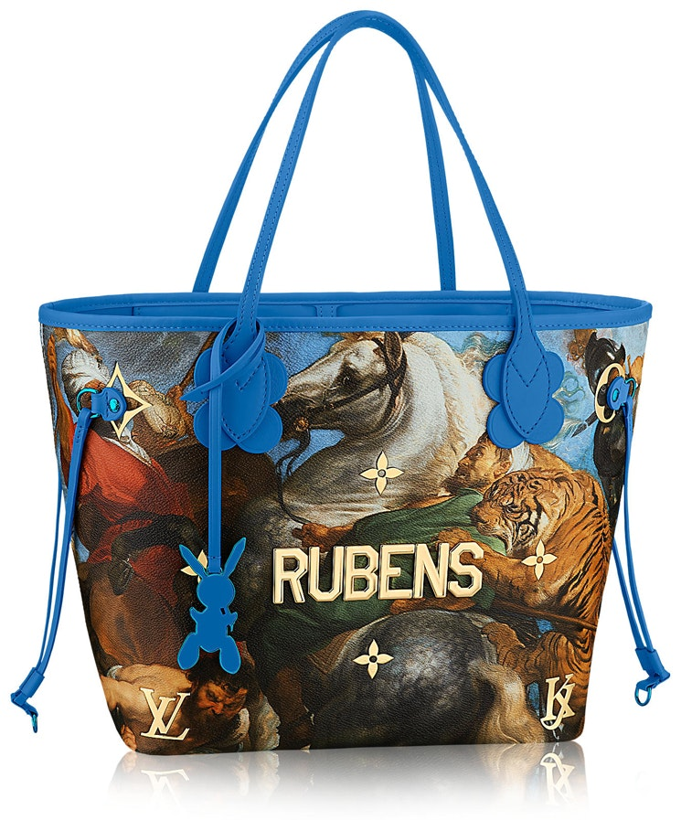 Louis Vuitton Neverfull Peter Paul Rubens Masters Jeff Koons MM Blue Multicolor