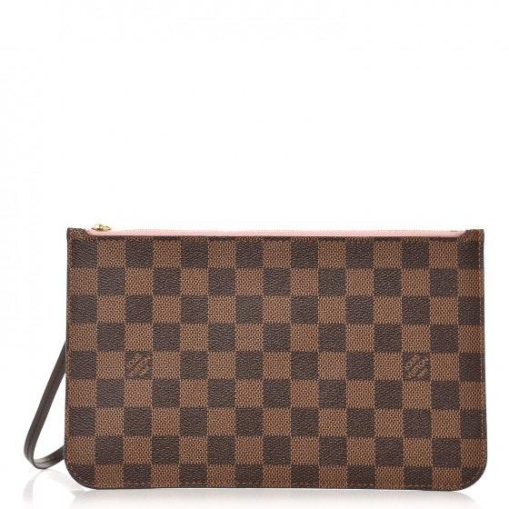 Louis Vuitton Neverfull Pochette Damier Ebene (With Strap) Brown