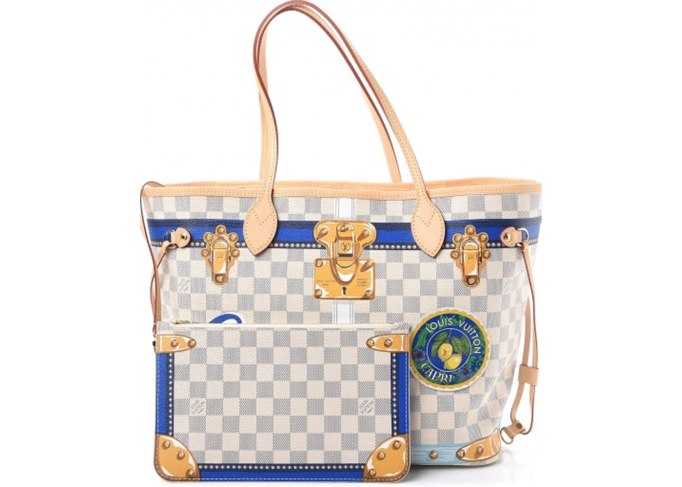 5c287f8ad22c Louis Vuitton Neverfull Summer Trunks Capri Damier Azur With Accessories MM  White Blue. Damier Azur With Accessories MM White Blue