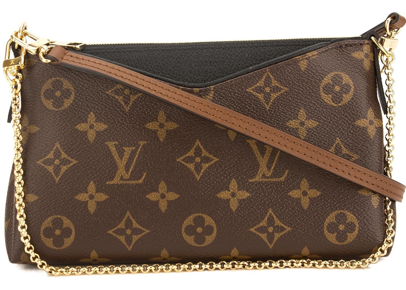 03f74df70d6c Louis Vuitton Clutch Pallas Monogram Black Brown