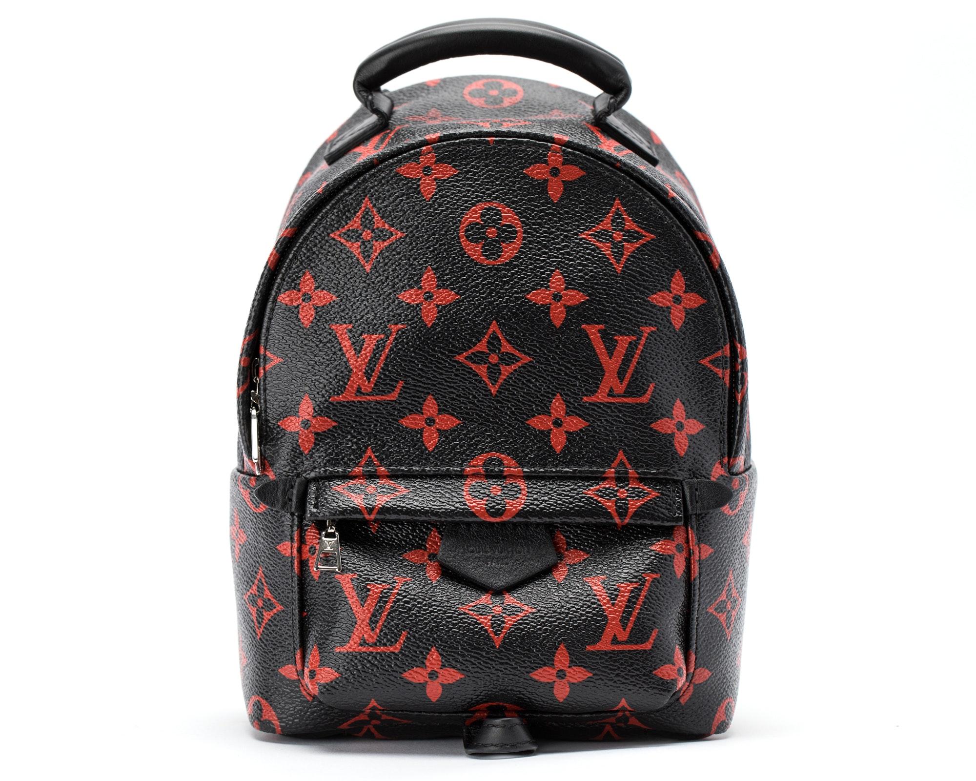Louis Vuitton Backpack Palm Springs Monogram Infrarouge Mini Black Red