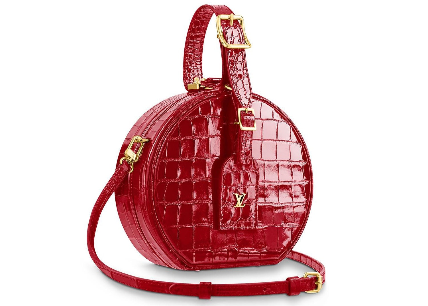 Louis Vuitton Petite Boite Chapeau Crocodile Leather Gold-tone Cerise