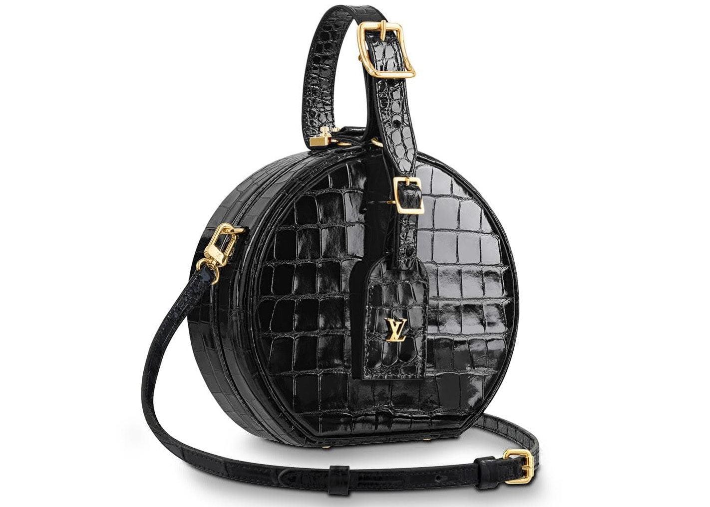 Louis Vuitton Petite Boite Chapeau Crocodile Leather Gold-tone Noir