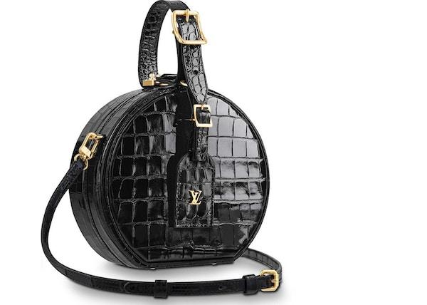 40c42e1a3644 Louis Vuitton Petite Boite Chapeau Crocodile Leather Gold-tone Noir