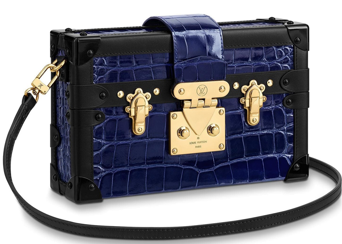 Louis Vuitton Petite Malle Crocodile Brillant Gold-tone Saphir