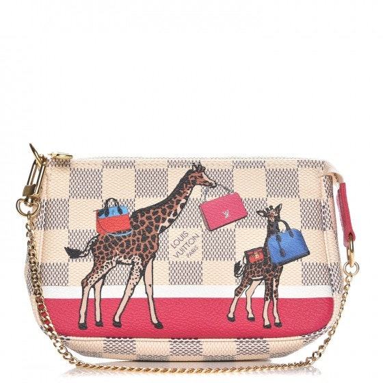 Louis Vuitton Pochette Accessories Giraffe Xmas Damier Azur Mini White/Blue/Pink