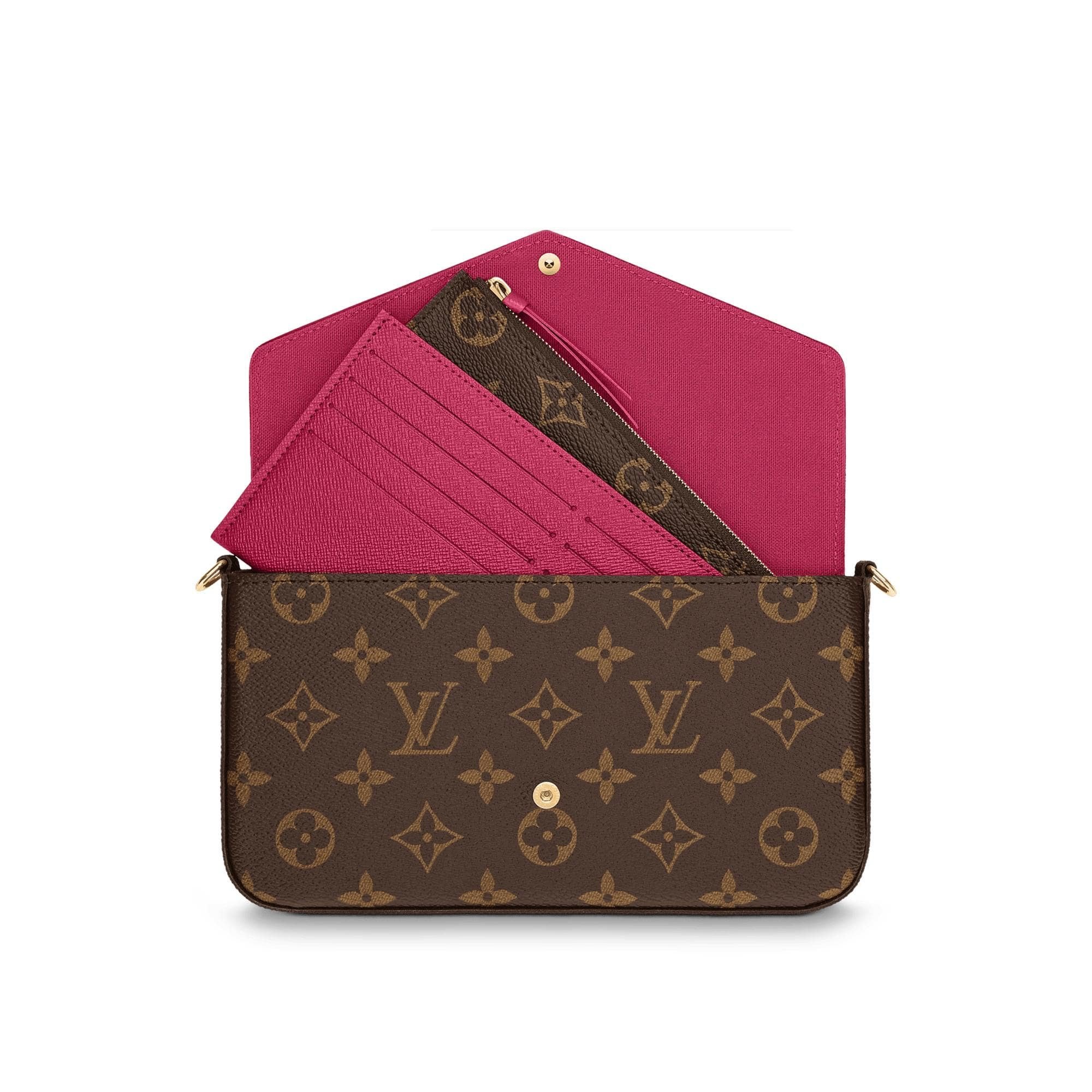 Louis Vuitton Pochette Felicie Monogram (With Accessories) Fuchsia