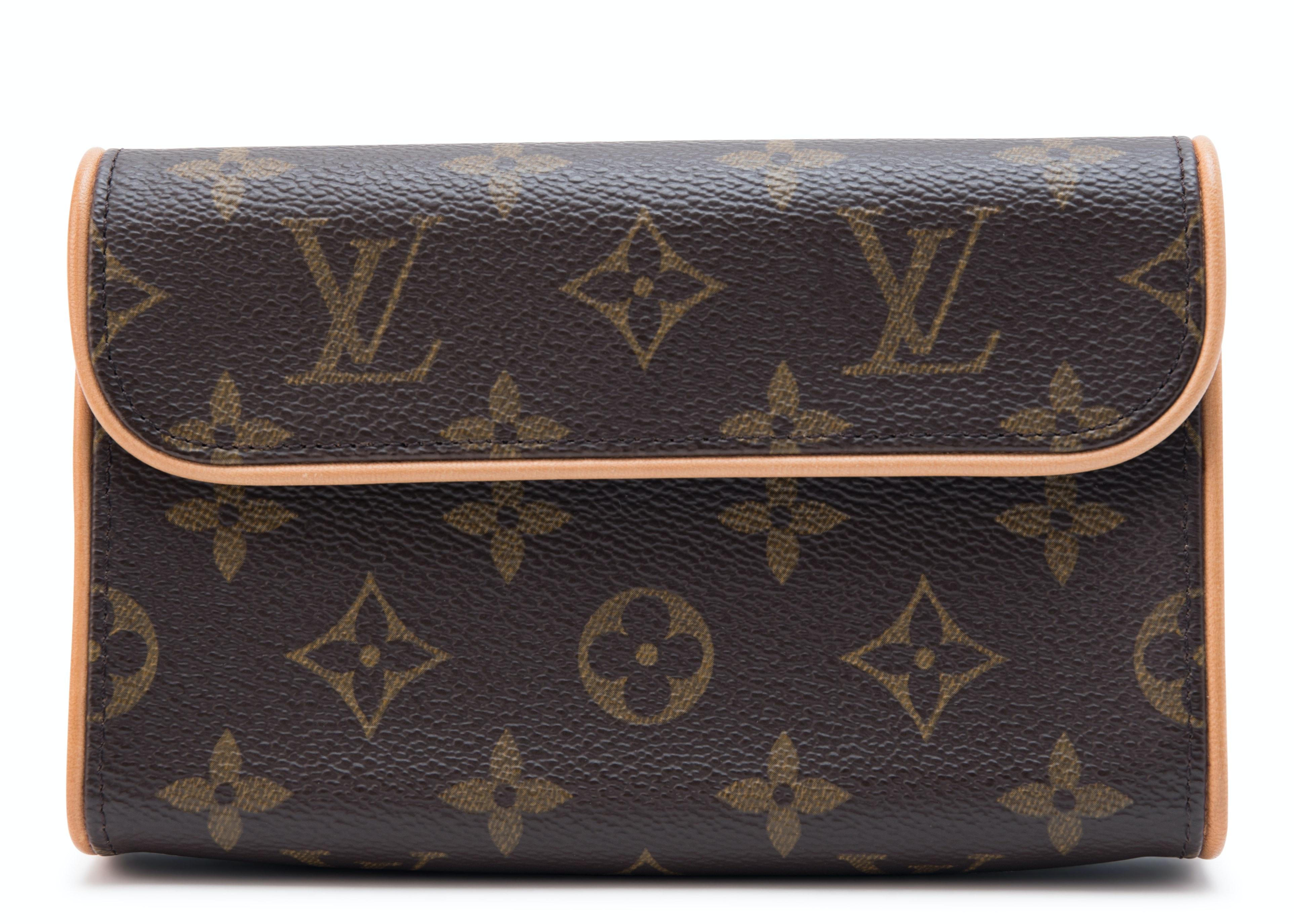 Louis Vuitton Pochette Florentine Monogram With Brass Buckle Leather Belt Brown