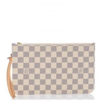 Louis Vuitton Neverfull Pochette MM GM Damier Azur Ivory/Grey