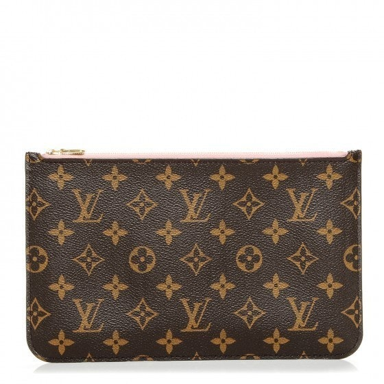 Louis Vuitton Pochette Neverfull MM GM Monogram Rose Ballerine/Brown