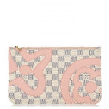 Louis Vuitton Neverfull Pochette Damier Tahitienne Azur MM Ivory/Pink