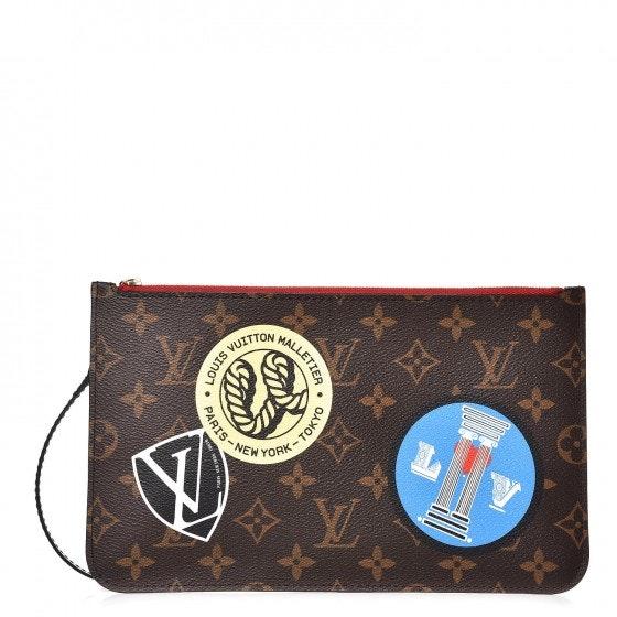 Louis Vuitton Neverfull Pochette Monogram World Tour Brown