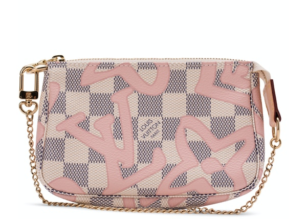 4aad0a536f1a Louis Vuitton Pochette Tahitienne Damier Azur Mini Ivorie/Grey/Pink