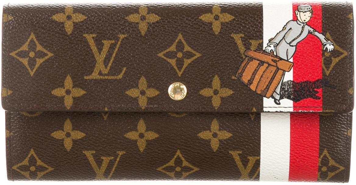Louis Vuitton Sarah Monogram Groom Porte Monnaie Brown/Red/White