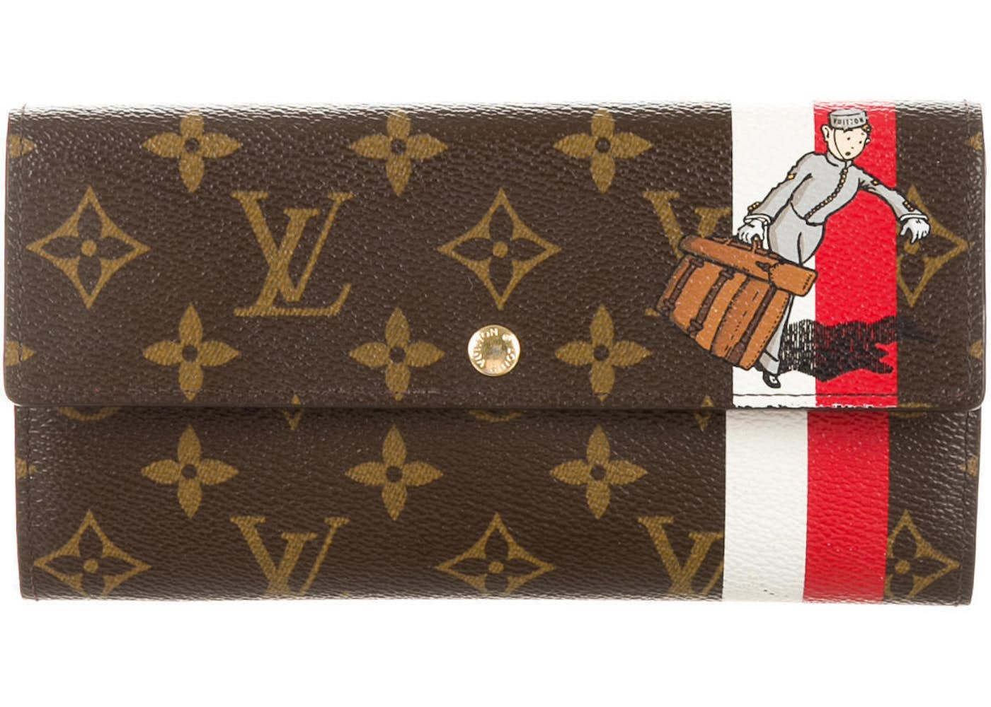 Vuitton Sarah Monogram Groom Porte Monnaie BrownRedWhite - Groom porte