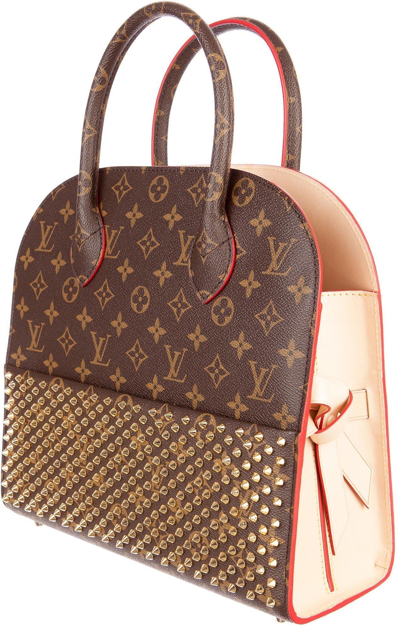 louis vuitton shopping bag christian louboutin monogram brown red