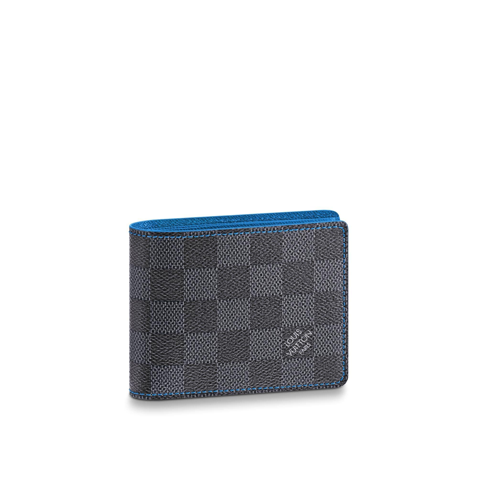 Louis Vuitton Multiple Wallet Damier Graphite Black/Grey/Neon Blue In Black/Grey/Blue