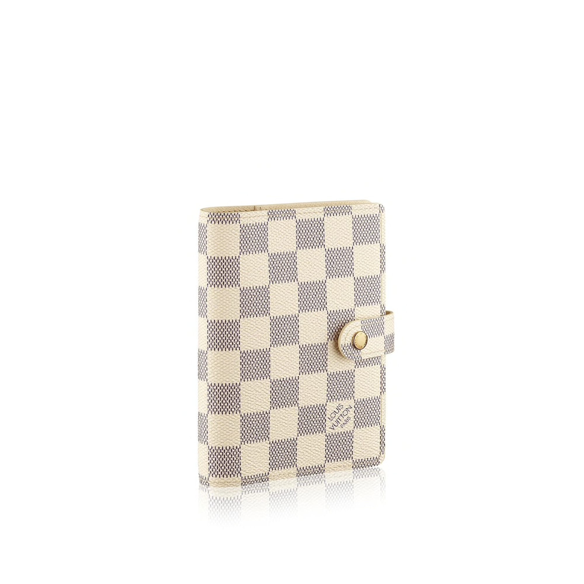 Louis Vuitton Small Ring Agenda Cover Damier Azur White Blue