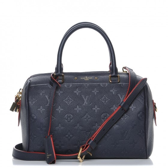 Louis Vuitton Speedy Bandouliere Monogram Empreinte (With Accessories) 25 Marine Rouge