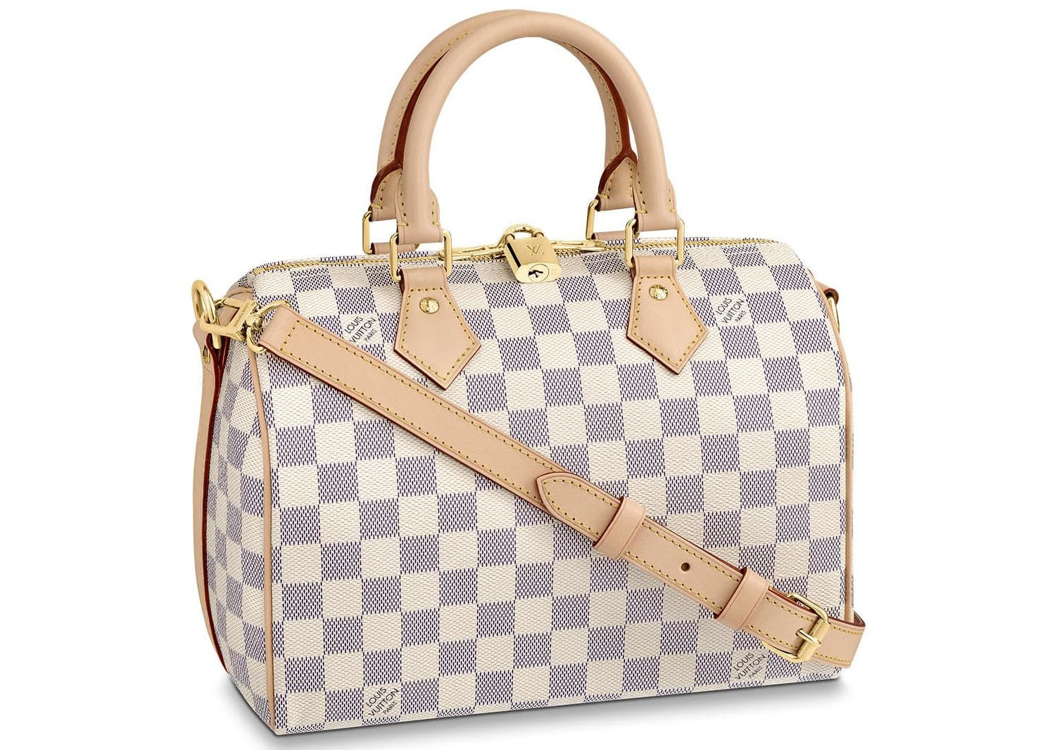 Louis Vuitton Speedy Bandouliere Damier Azur 25 White